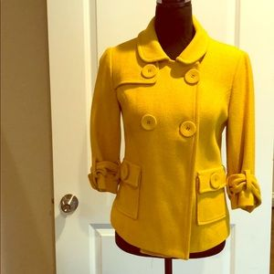 Forever 21 Mustard Short Pea Coat Jacket Small